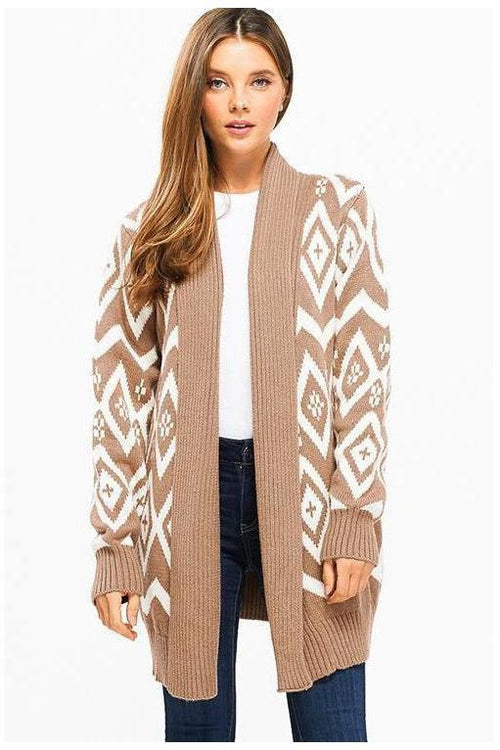 Geometric White And Blush Open Cardigan