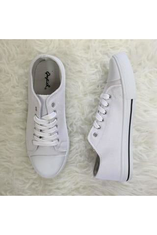 Lace Up Sneakers - White Canvas - RMC Boutique
