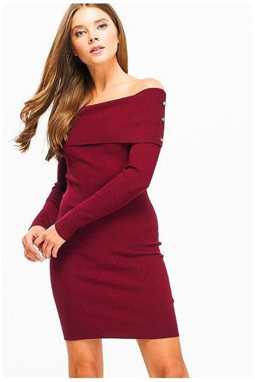 Burgundy Long Sleeve Off The Shoulder Ribbed Bodycon Dress