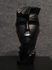 Lindsey B Irmgard Black with Silver Lips and Collar Sculpture 1984