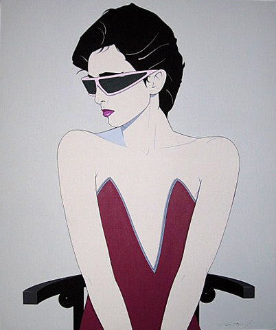 Patrick Nagel Original Canvas Seated Woman with Sunglasses 1983