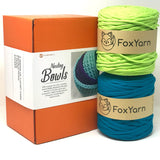 T-Shirt Yarn Nesting Bowls Yarn Kit - Lime/Aqua