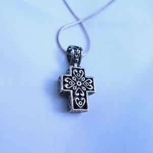 Turquoise and Sterling Silver Cross Necklace - Everyday in Retrograde