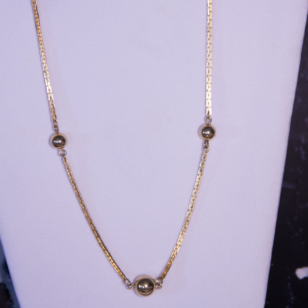 Vintage Gold Tone Square Cable Chain Long Station Necklace - Everyday in Retrograde