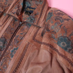 Jay Jacobs Leather Jacket W/ Floral Patchwork and Dimensional trim - Everyday in Retrograde