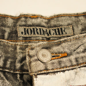 Jordache Acid Wash High Waisted Denim Shorts Hand Painted Red/White Stripes - Everyday in Retrograde