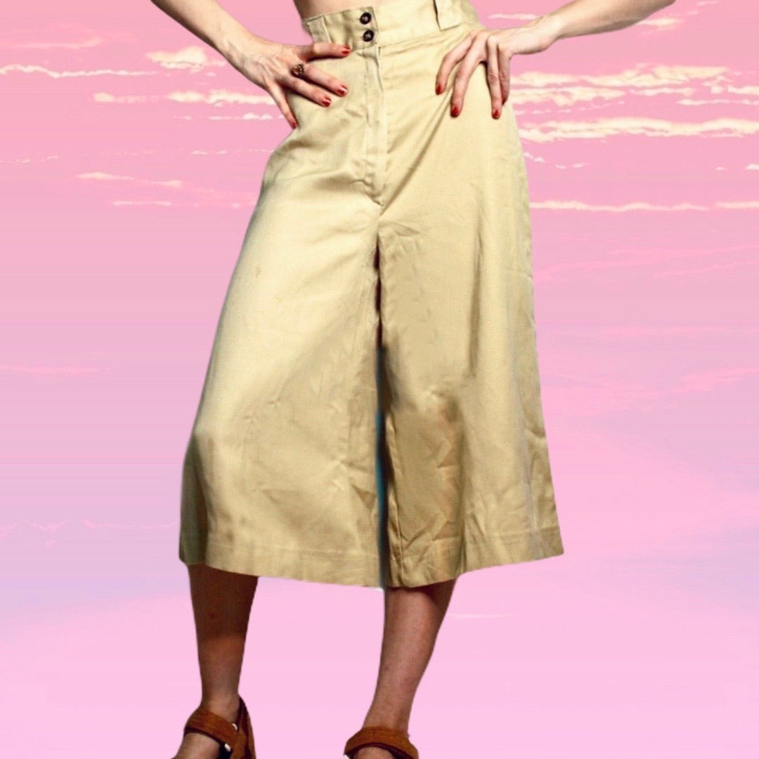 70s Khaki Flare Culottes - Everyday in Retrograde