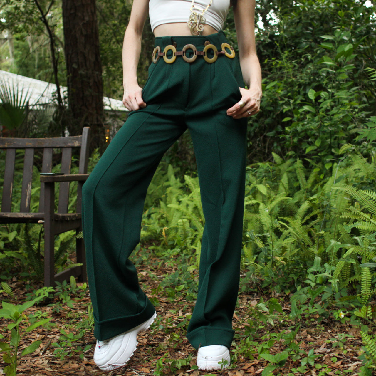 1970s High Waisted Green Wide Leg Bell Bottom Trouser Pant - Everyday in Retrograde