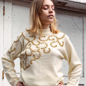 Mock Neck Vintage  Embellished Sweater - Everyday in Retrograde