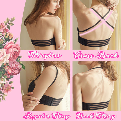 Removable Strap Lace Drawstring Bra Bandeau