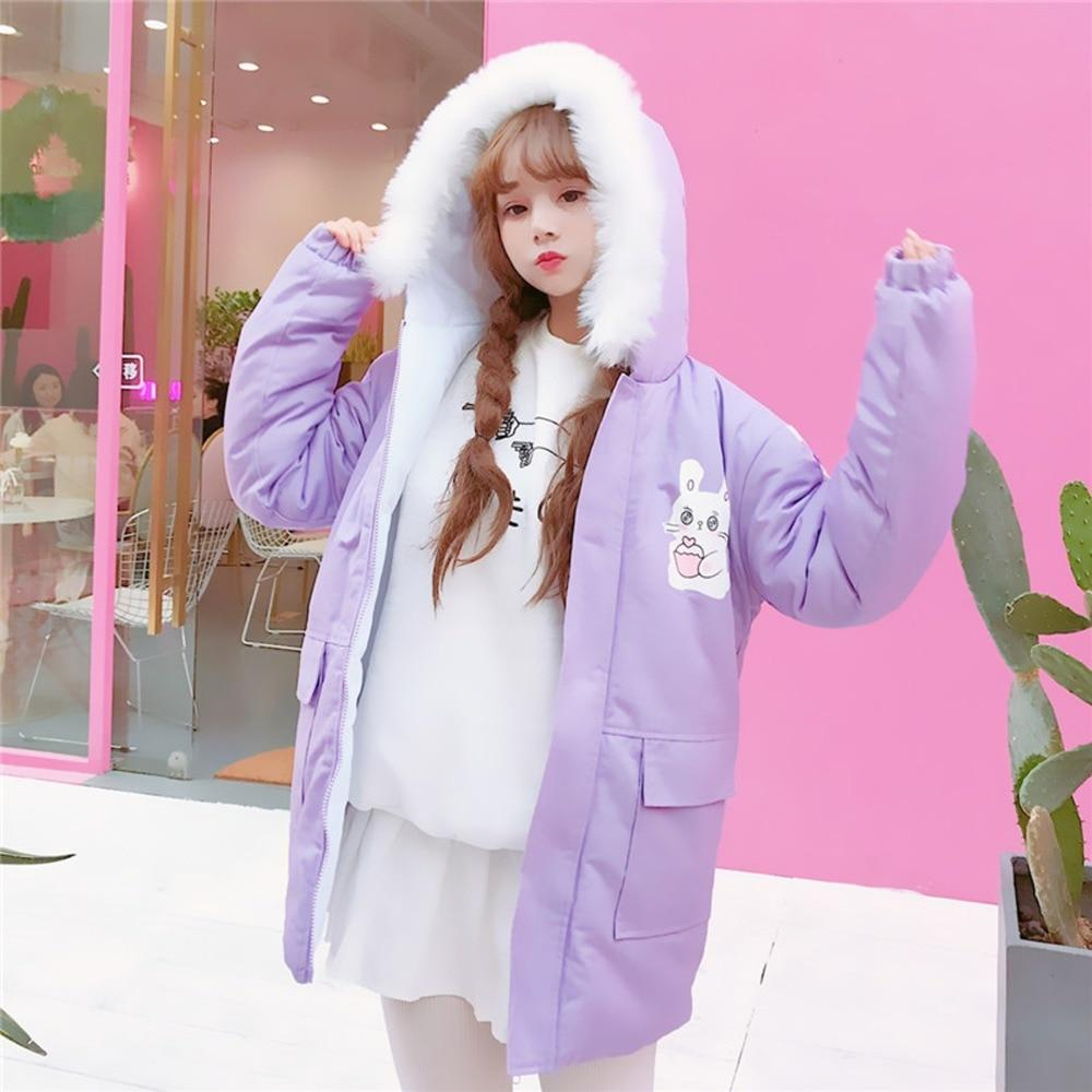 Bunny Cake Faux Fur Hoodie jacket Purple M