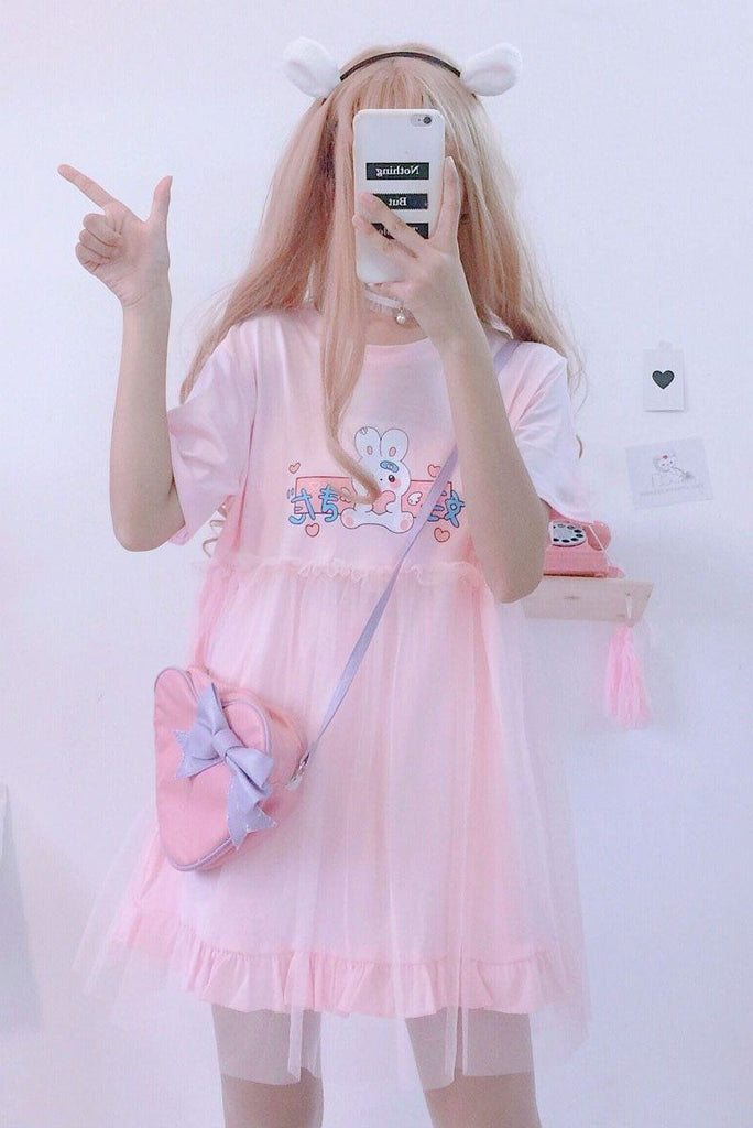 Bunny Love Double Layered Dress Dresses Pink One Size