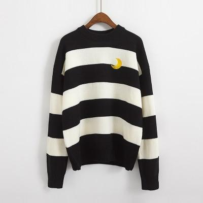 Candy Stripes Crescent Moon Sweater sweater Black One Size