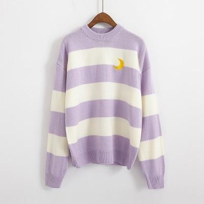 Candy Stripes Crescent Moon Sweater sweater Lavender One Size