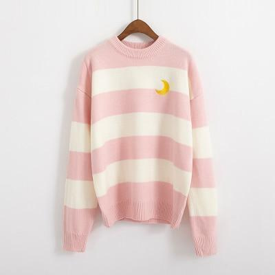 Candy Stripes Crescent Moon Sweater sweater Pink One Size
