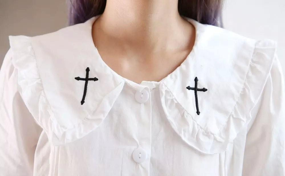 Embroidered Cross Peter Pan Blouse top