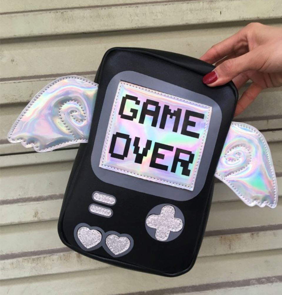 GAME OVER Purse bags Black (Large)