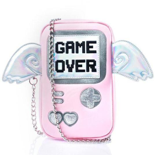 GAME OVER Purse bags Pink (Large)