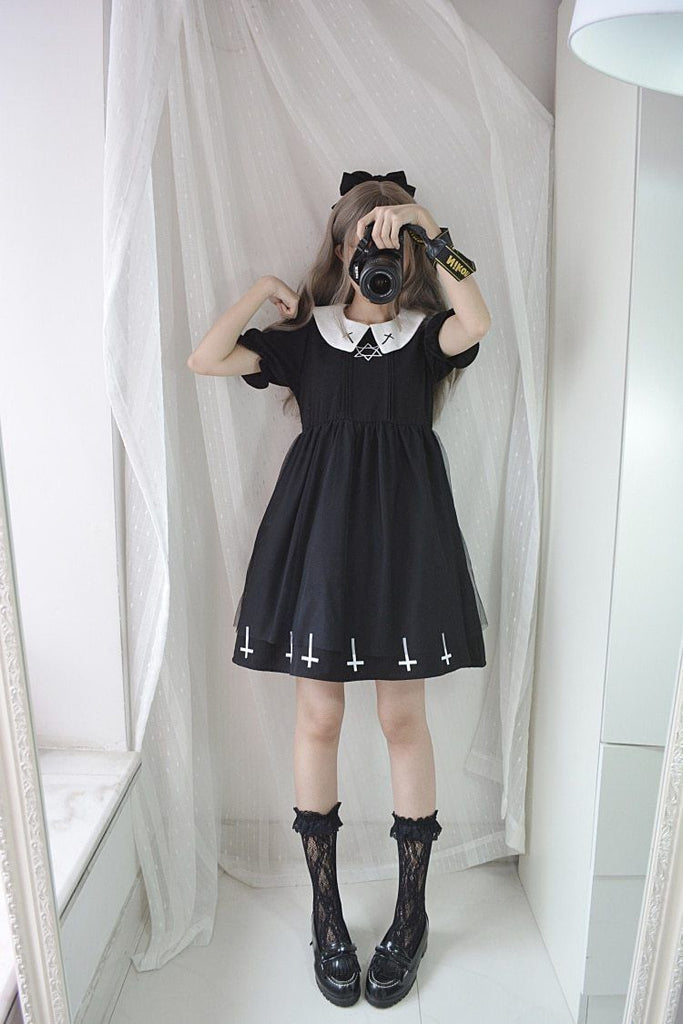 Gothic Lolita Cross Collar Dress dress