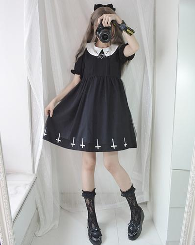 Gothic Lolita Cross Collar Dress dress black dress S
