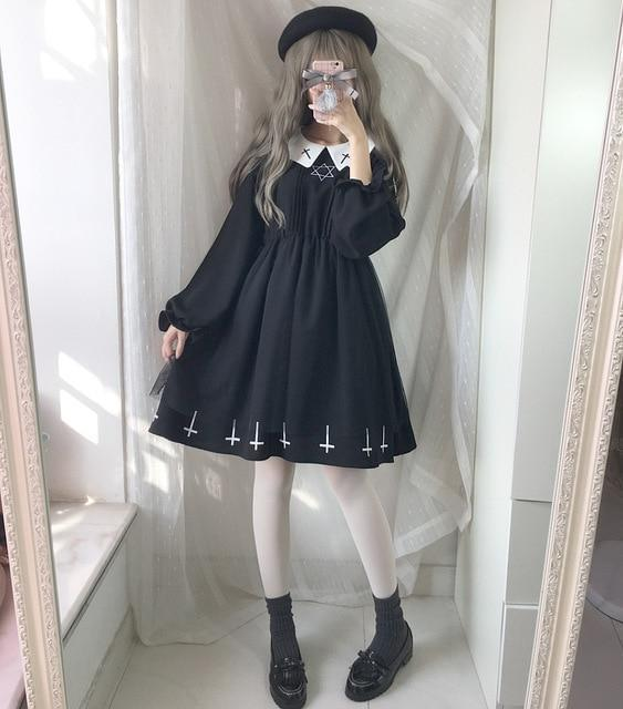 Gothic Lolita Cross Collar Dress dress long sleeve dress S