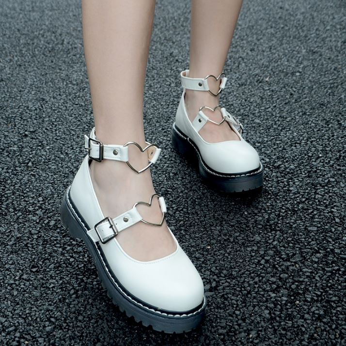 Heart Buckle Flats 5 white