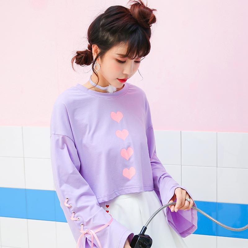 Heart Stamp Long Sleeve Tops