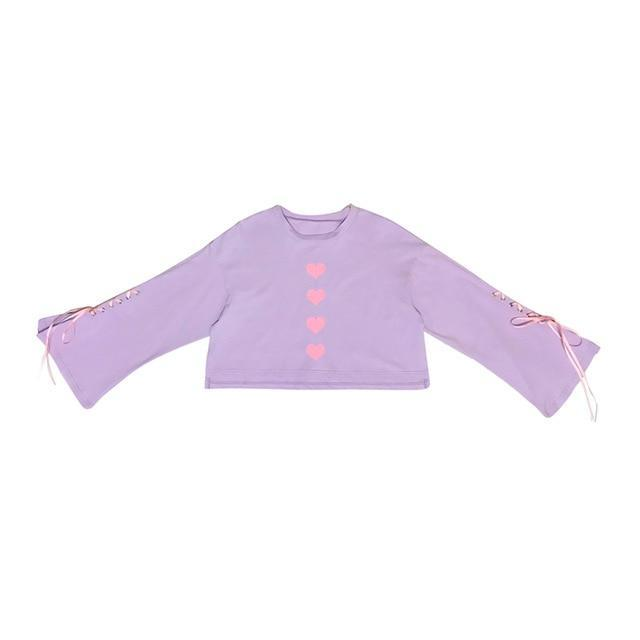 Heart Stamp Long Sleeve Tops Purple S