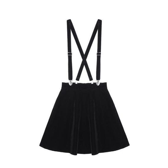 Heart Suspender Mini Skirt skirt Black XS
