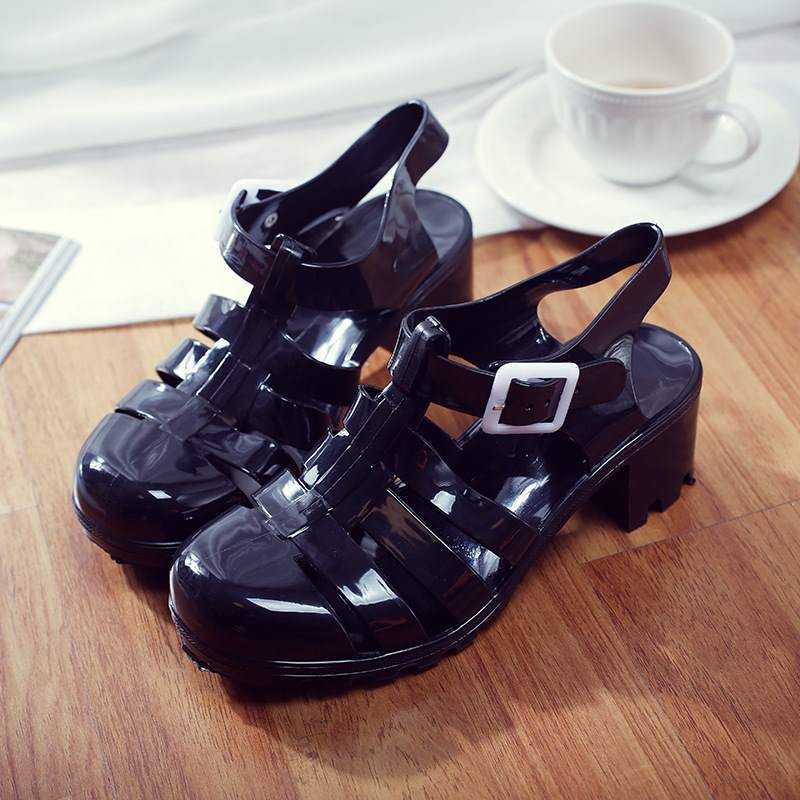 Jelly Sandal Heels shoes black 5