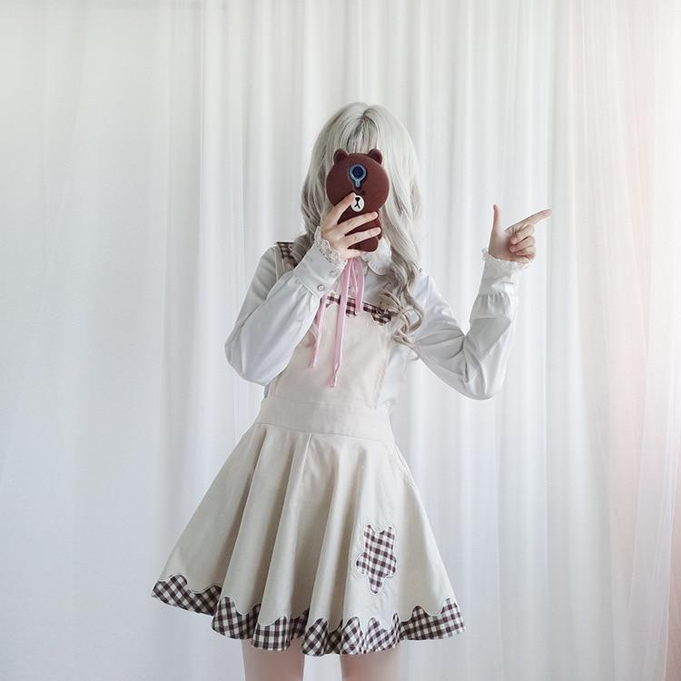 Kawaii Plaid Pinafore and Blouse dress