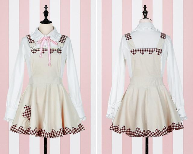 Kawaii Plaid Pinafore and Blouse dress beige pinafore + blouse S