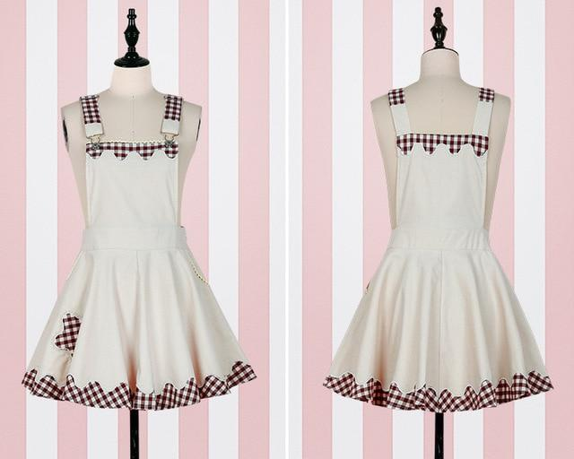 Kawaii Plaid Pinafore and Blouse dress beige pinafore ONLY S
