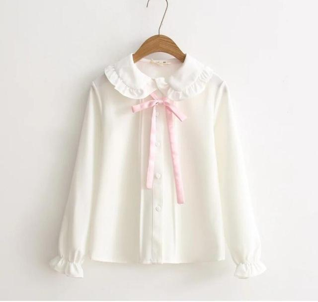 Kawaii Plaid Pinafore and Blouse dress blouse ONLY S