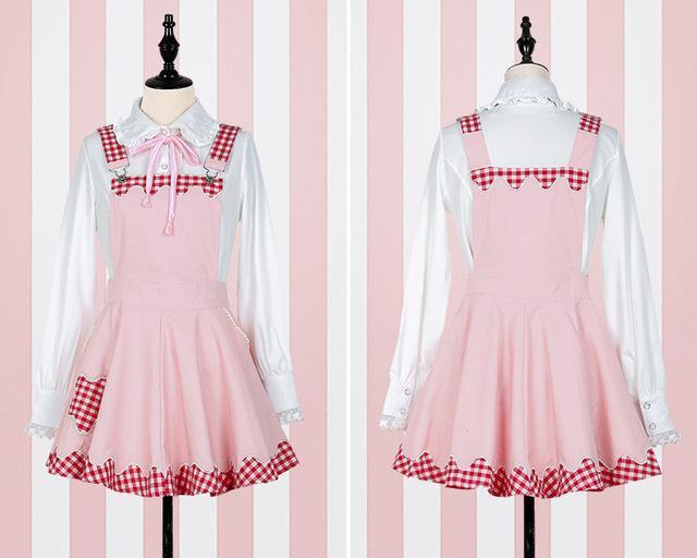 Kawaii Plaid Pinafore and Blouse dress pink pinafore + blouse S