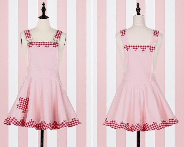 Kawaii Plaid Pinafore and Blouse dress pink pinafore ONLY S
