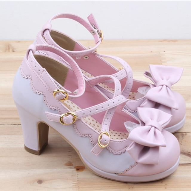 Lolita Bowtie High Heels shoes lilac and pink 4