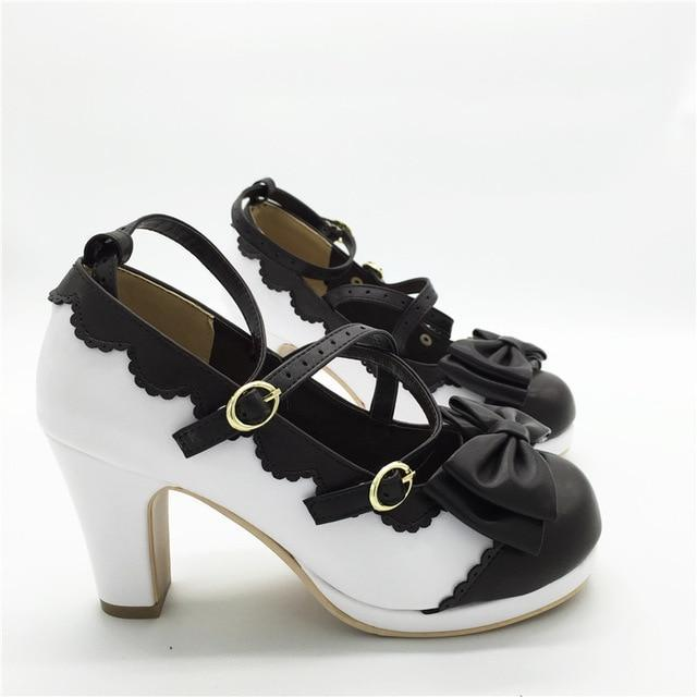 Lolita Bowtie High Heels shoes white and black 4