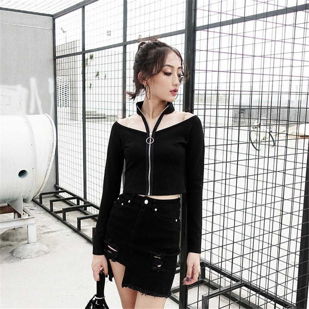 Off-Shoulder Zipper Goth Top top