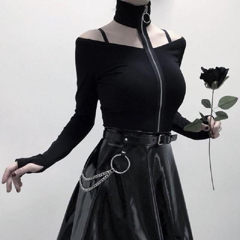 Off-Shoulder Zipper Goth Top top Black S
