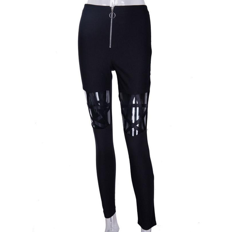 Pentagram Hollowed Out High Waist Leggings pants