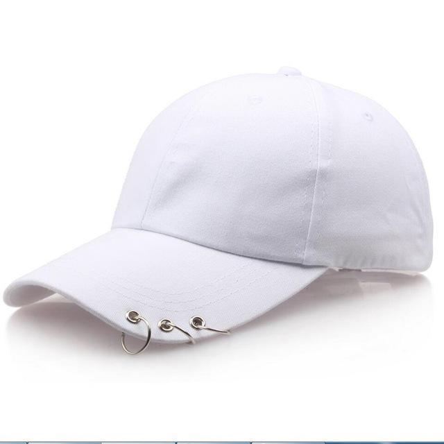 Pierced Dad Cap hat white