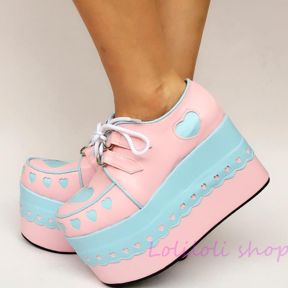 Pink & Blue Platform Lolita Creepers shoes