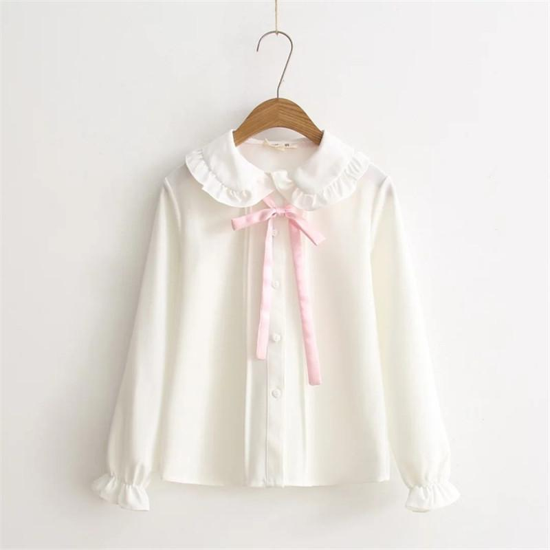 Pink Bowtie Peter Pan Collar Blouse blouse White S
