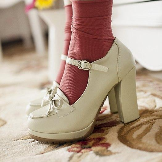 Round Toe Bow Pumps shoes Beige 34