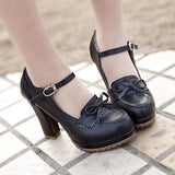 Round Toe Bow Pumps shoes Black 34