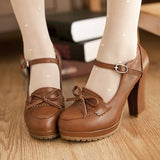 Round Toe Bow Pumps shoes Red Brown 34