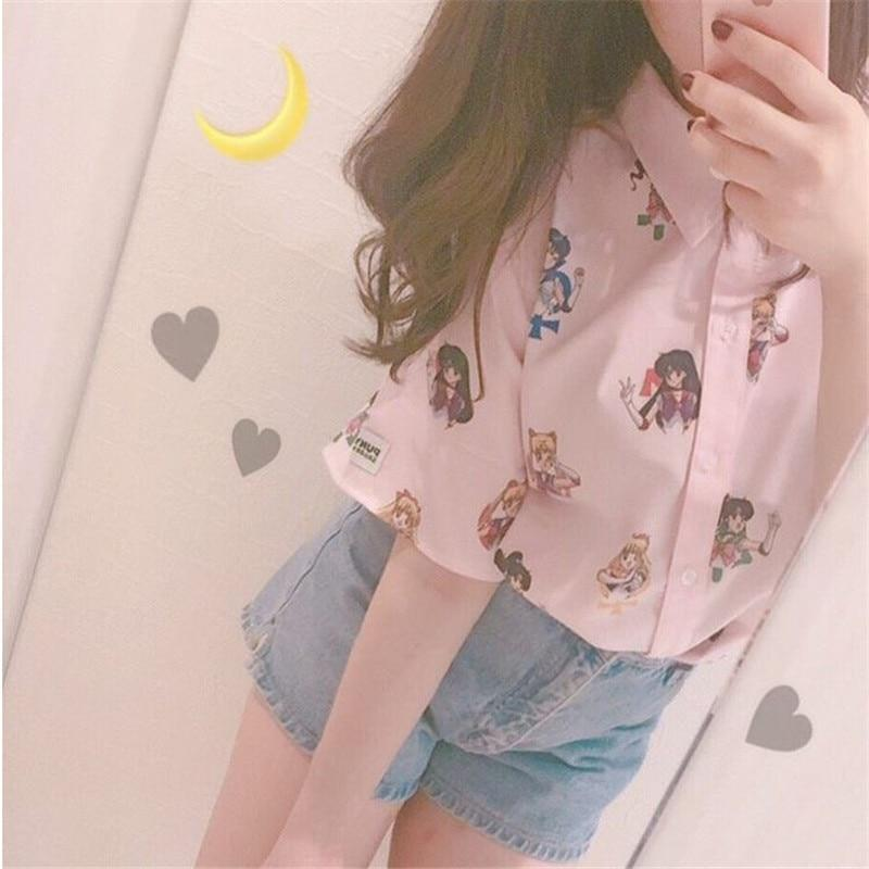 Sailor Moon Short Sleeve Button Down tops