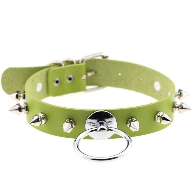 Smol Spiked O-Ring Collar accessories green