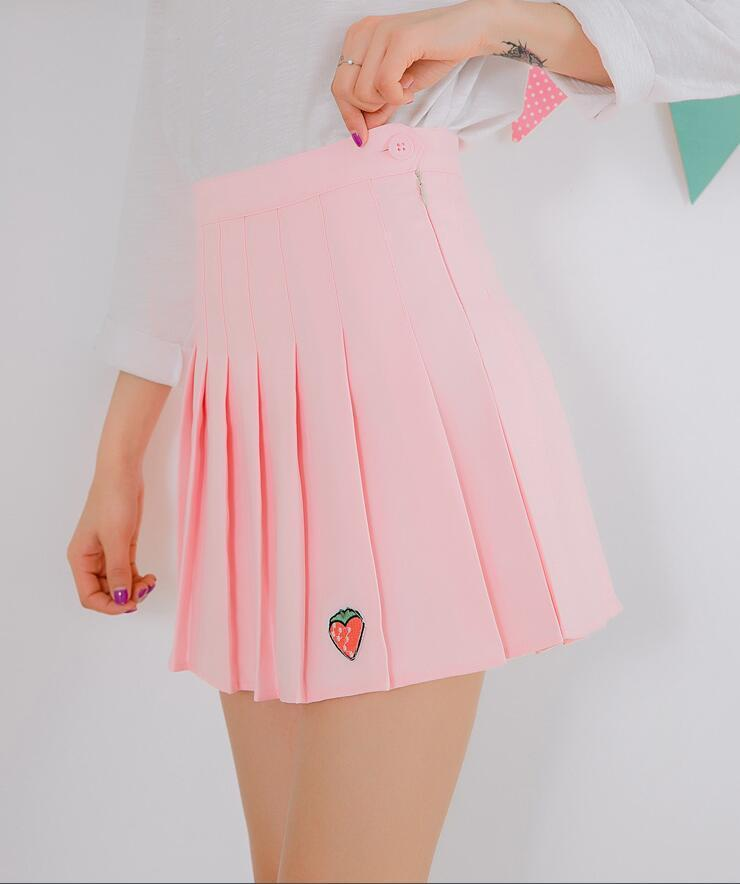 Strawberry Embroidery Pleated Skirt bottoms Pink S